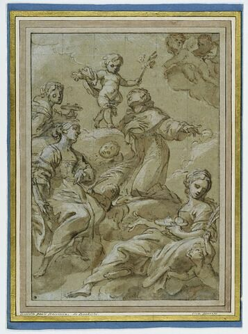L'Enfant Jésus entouré de plusieurs saints et d'anges