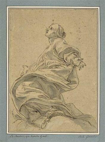 Une sainte à genoux sur des nuages : sainte Agnès (?)