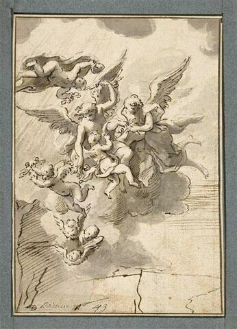Groupe d'anges portés sur des nuages et jetant des fleurs