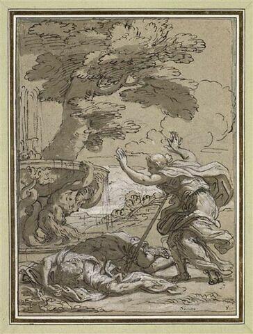 Thisbé se tue avec l'épée de Pirame