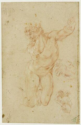 Un homme nu, à genoux, les bras levés et deux études de main