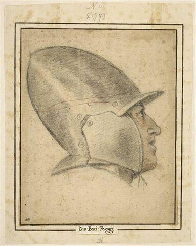 Tête d'homme, coiffée d'un casque, vue de profil