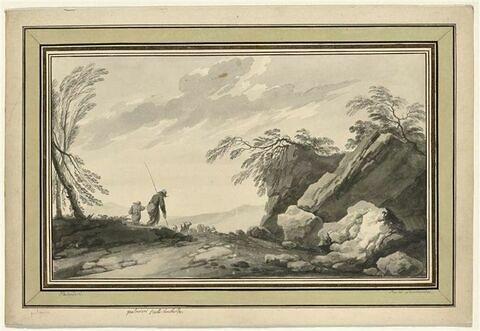 Deux bergers conduisant un troupeau sur un chemin bordé de rochers