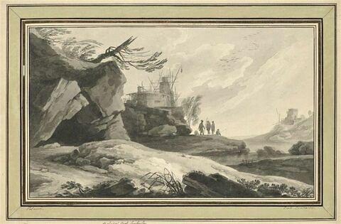 Quatre figures près d'une fortification en construction, sur un rocher