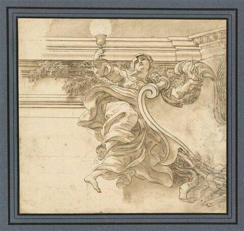 Figure de la Foi, tenant un calice, une flamme et accostée à un écusson
