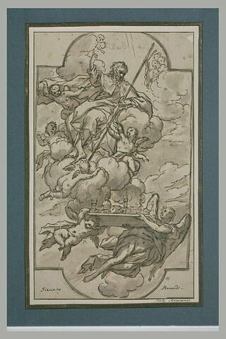 Saint Jacques le Majeur sur des nuées, avec la maquette d'une basilique