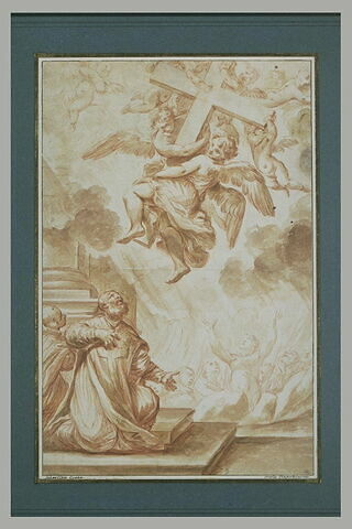 Apparition d'anges portant la Croix à deux religieux