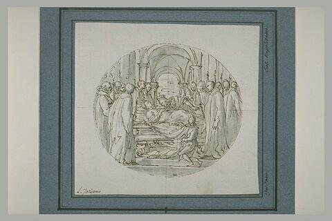 Une Reine sur un lit funèbre entourée de nombreuses figures