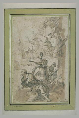 Trois figures regardant une foule de gens adorant une idole sur un autel