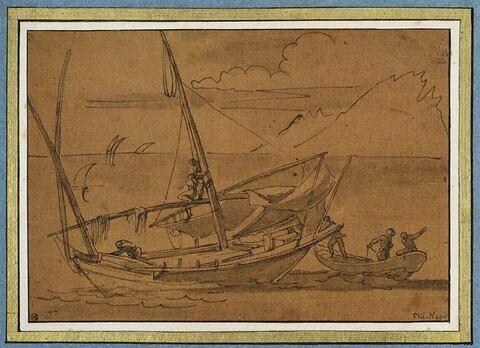 Deux barques, en mer