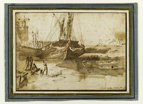 Galère, et barques dans un port