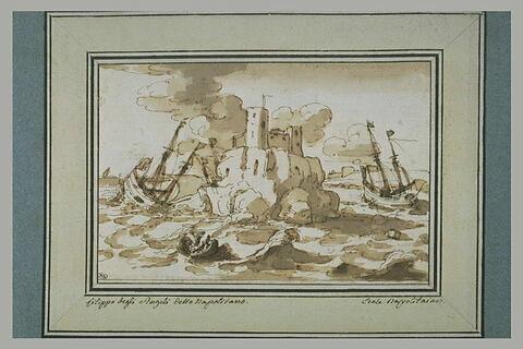 Naufrage d'un navire, avec des rescapés, près d'un fort dressé sur un rocher