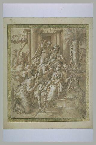 La Sainte Famille en Egypte, servie par les anges et deux femmes
