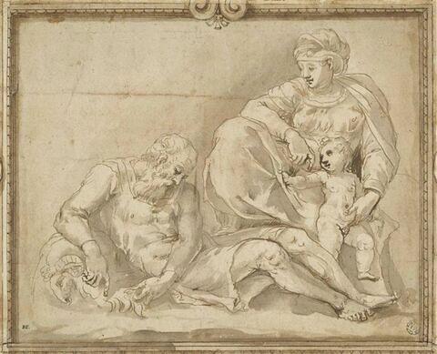 La Vierge et l'Enfant regardant un vieil homme endormi