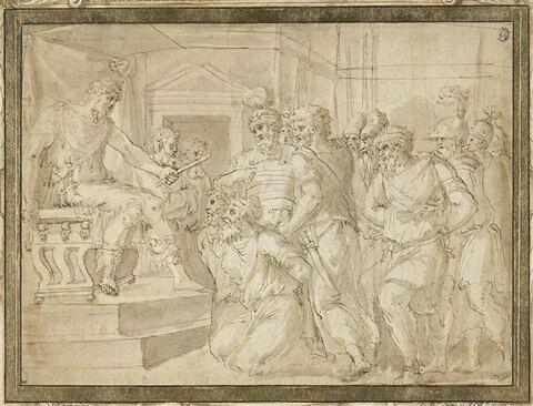 Prisonniers s'agenouillant devant un roi assis sur un trône