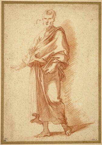 Homme debout, drapé, tenant un livre