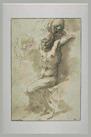 Homme demi nu, soutenu par un homme