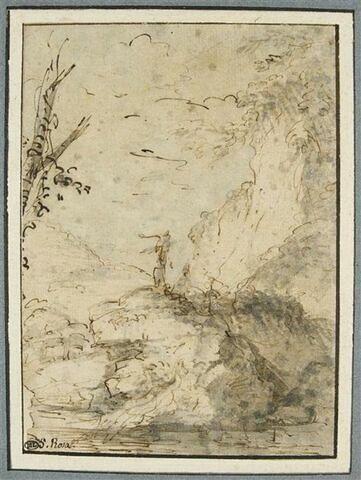 Deux figures dans un paysage rocheux