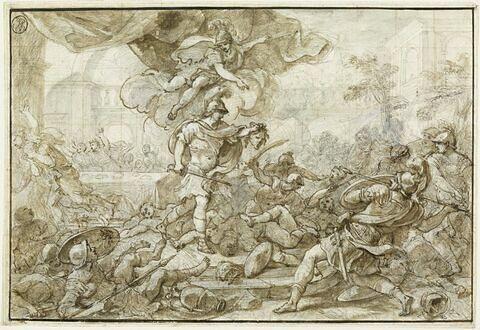 Persée, armé de la tête de Méduse, change en pierre Phinée et ses soldats