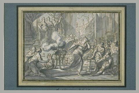 Dans un temple, trois déesses apparaissant à une pythie qui s'enfuie