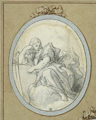 Femme assise, accoudée sur le bras droit, dans les nuées
