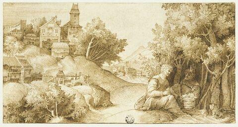Paysage avec deux hommes assis près d'un bosquet