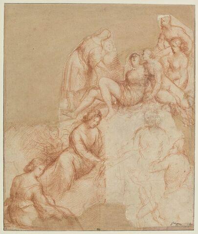 Groupe de huit figures féminines, deux putti, un personnage masculin et un centaure (?)
