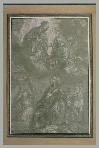 Saint Georges et la princesse , la Vierge avec l'Enfant et un saint