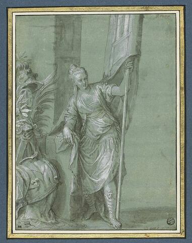 Femme debout, un étendard dans la main gauche : la Victoire