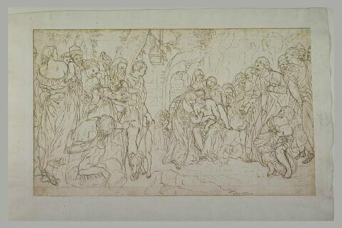 Le Christ au milieu d'une foule designant un homme : miracle du Christ (?)