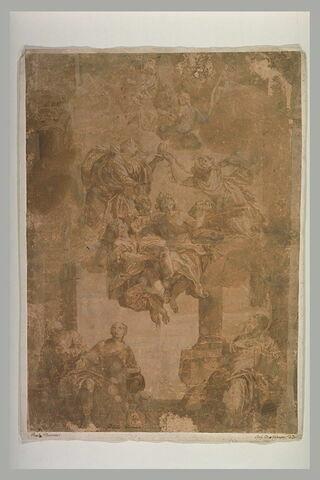 La Vierge à l'Enfant, un saint enlevé au ciel par deux anges, trois saints