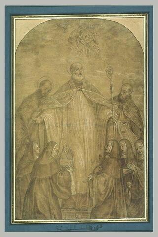 Saint Benoît, les saints maur, Placide, scolastique, catherine et la Vierge