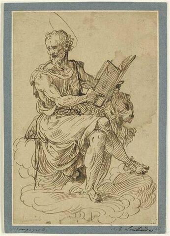 Saint Marc assis tenant un livre des deux mains