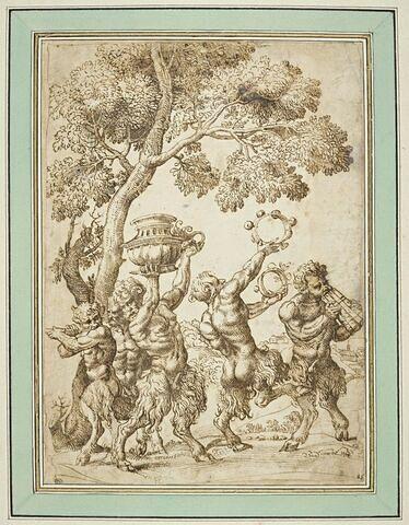 Cinq satyres dans un bois, jouant de divers instruments de musique