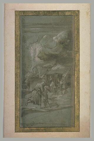 L'orage : plusieurs personnages courent se réfugier dans une masure