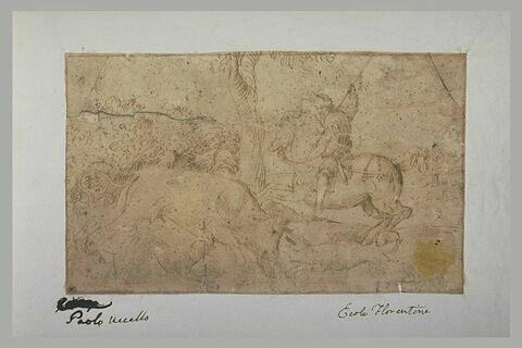 Chasse d'un taureau par un cavalier et deux chiens