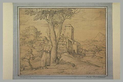 Paysage avec une femme à genoux devant un vieil homme près d'un village