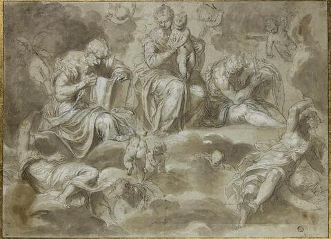 Vierge à L'Enfant en gloire, saint Pierre, saint Paul, et des anges