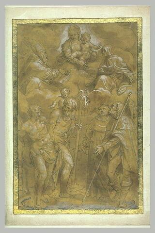 Apparition de la Vierge à l'Enfant et deux saints à quatre saints martyrs