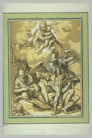 Apparition de la Vierge à l'Enfant à saint Jérôme et saint Michel archange
