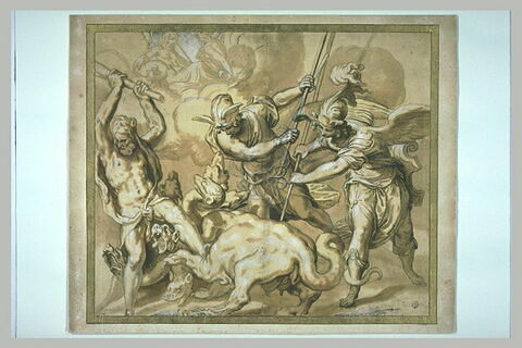 Hercule, Mercure et Minerve combattant l'Hydre à sept têtes
