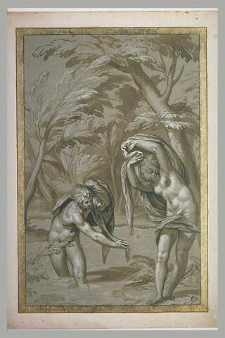 Hermaphrodite nu, dans le lac, devant la nymphe Salmacis