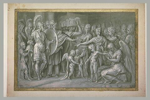 Un guerrier et une femme sont désignés au milieu d'une foule de personnages