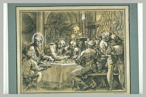 Le pape Grégoire le grand partageant son repas avec les pauvres