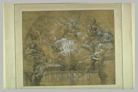 Une gloire d'anges entourant les lettres IHS