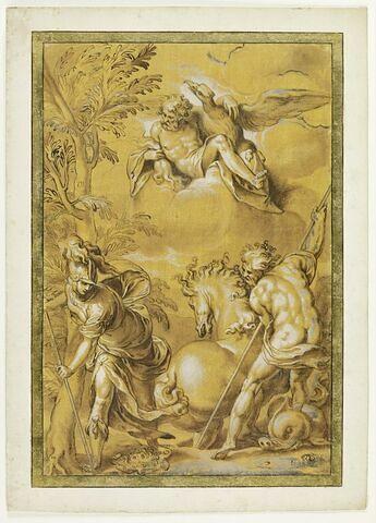 Athéna plante un olivier, Poséidon fait jaillir un lac salé devant Zeus