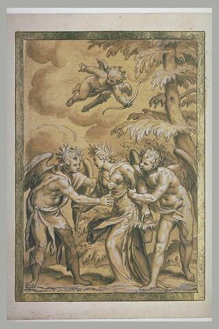 Deux hommes ailés retenant une femme : Primo Tempo, Flore, Zephir et l'Amour