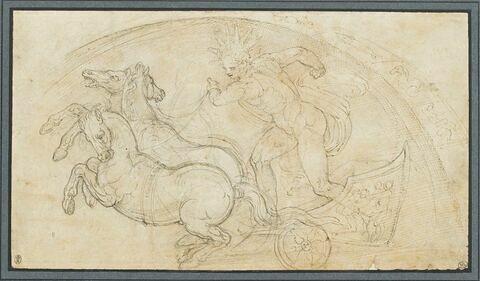 Apollon conduisant son char tiré par trois chevaux
