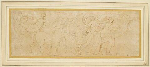 Partie d'un cortège avec une bacchante, un centaure et d'autres personnages