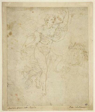 Figure d'homme ailé, debout de trois quart vers la droite; étude de draperie